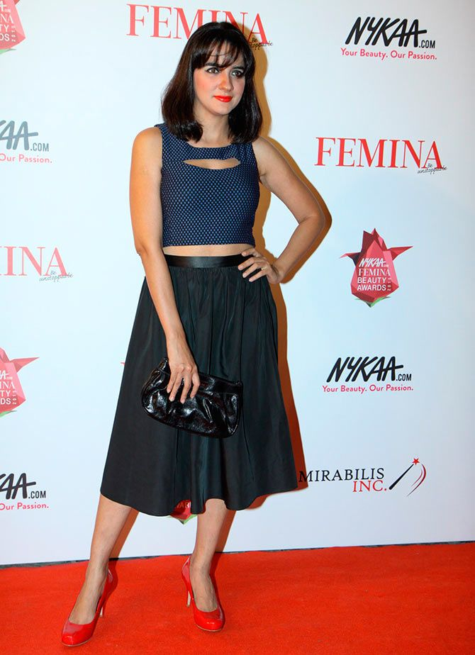 Shruti Seth's polka dotted crop top and deep green skirt combination was decidedly cute.