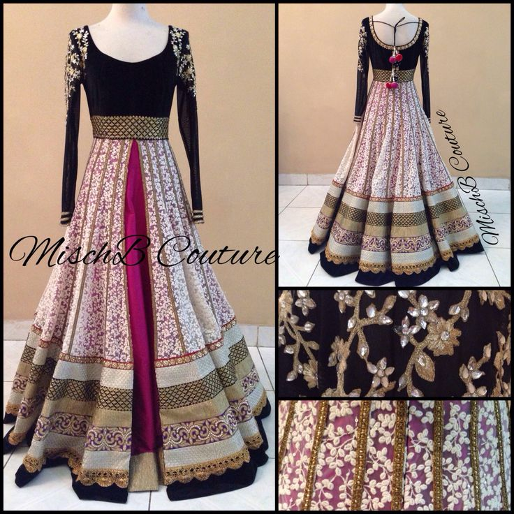 Black & Purple Designed Anarkali
