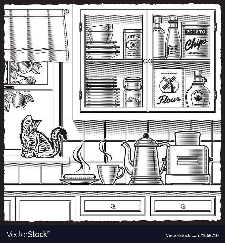 Retro Kitchen Black And White Royalty Free Vector Image Ad Black White Retro Kitchen Ad Kitchen Clipart Black Kitchens Clipart Black And White