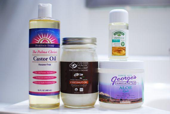 apparently the best hair mask EVER. castor oil. coconut oil. vitamin e oil. and aloe gel.