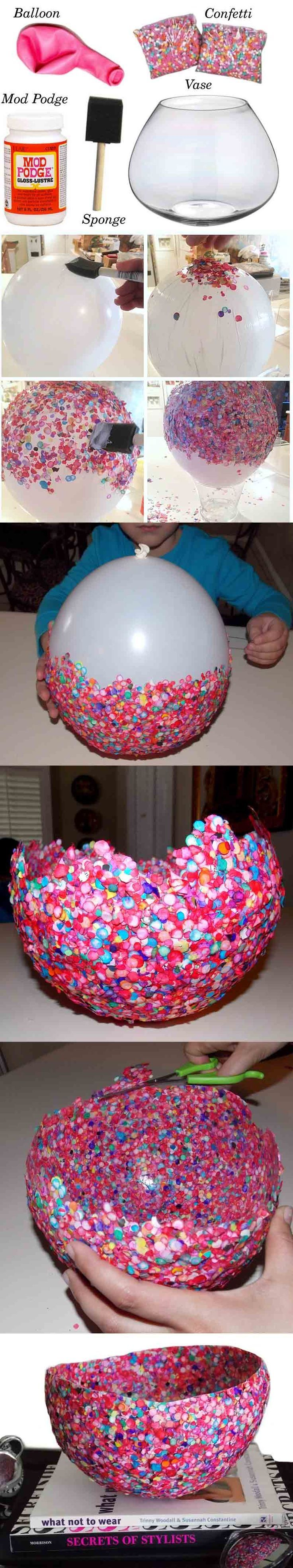 DIY Confetti Vase, but I'd like to try it with sequins instead! :D