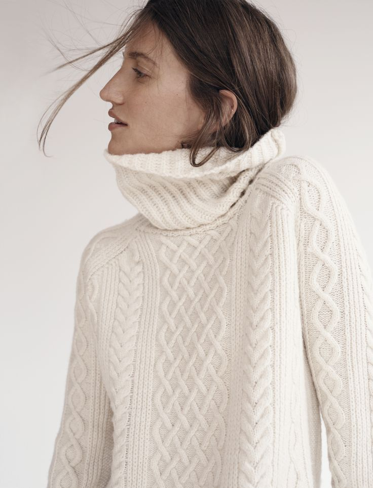 Hair Tuck - into turtleneck fishermen's sweater | Wisps | Pinned via birdasaurus