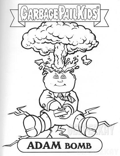 Garbage Pail Kids Adam Bomb Coloring Page Geepeekay