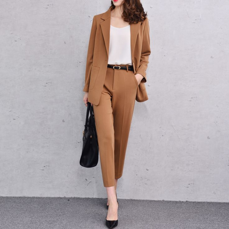 Pant Suits Women Office Business Suits Uniform Styles Fashion Elegant Camel Pant Suits 2017  Formal Work Wear Sets   J16QT0306
