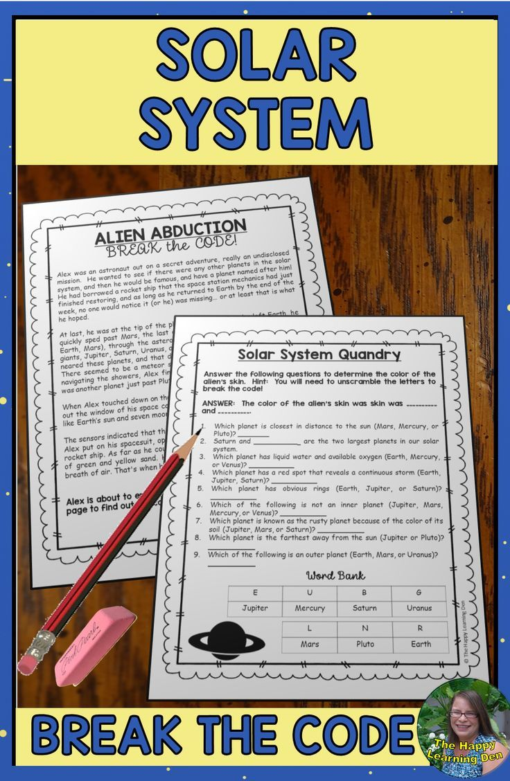Break The Solar System Edition Fun And Engaging Worksheets And Activities For Students To Review Science Vo Science Vocabulary Student Activities Solar System