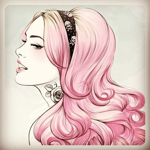 Girl with a skull headband and a tattoo - Sketch Series Project by Tati Ferrigno, via Behance