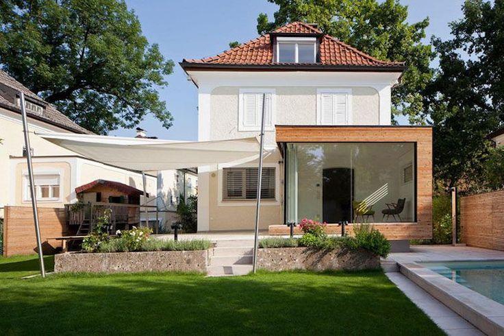 annexe maison à toit plat, baies vitrées et toile tendue terrasse