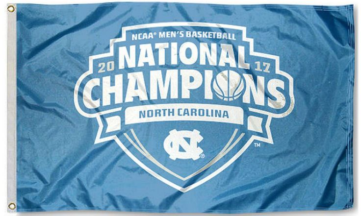 *FREE* North Carolina Men's Tar Heels Mens Basketball 2017 Championship Flag - Premium Simple