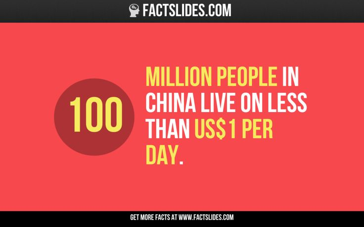 100 million people in China live on less than US$1 per day.