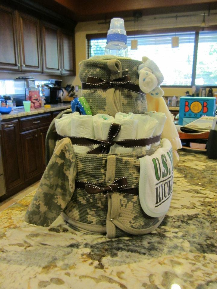 An ACU baby cake. Made out of hand towels, bottles, receiving blankets and most of all, DIAPERS!
