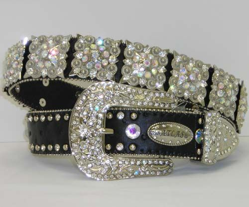 Black With Clear Crystal Concho Western Belt