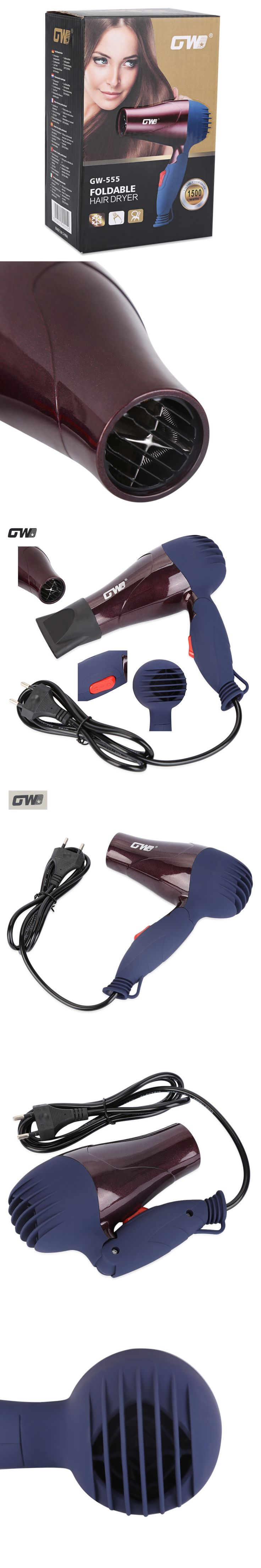 GW Foldable Hair Dryer Portable Travel Home Use Compact Ceramic Hair Blower Styling Tools High Quality Electric Hairdryer