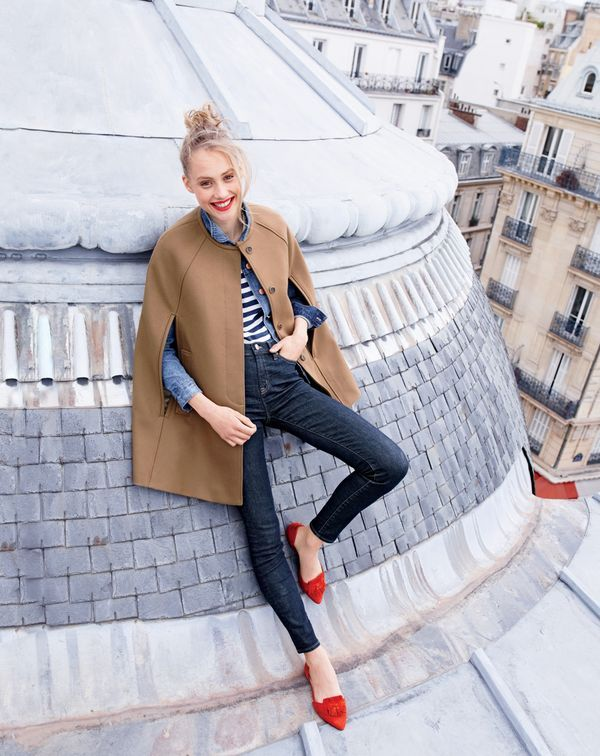J.Crew women's cape jacket in melton, denim jacket in Tyler wash, lookout high-rise jean in resin wash and suede d'Orsay loafer flats.