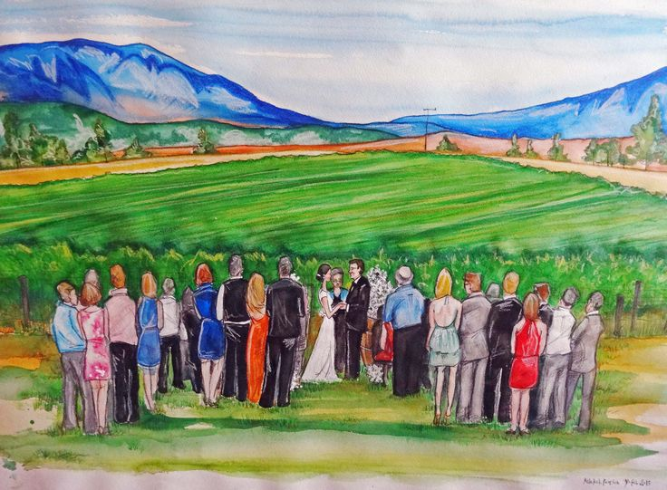 Capture your wedding ceremony on paper or canvas in a medium of your choice