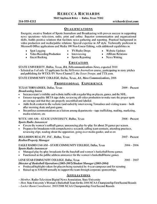 Intern Resume Example resume examples Pinterest Sample resume