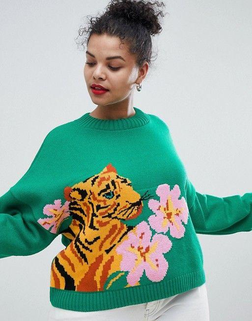 507a9698 DESIGN Curve tiger jumper with tropical flower   Wardrobe Ideas ...