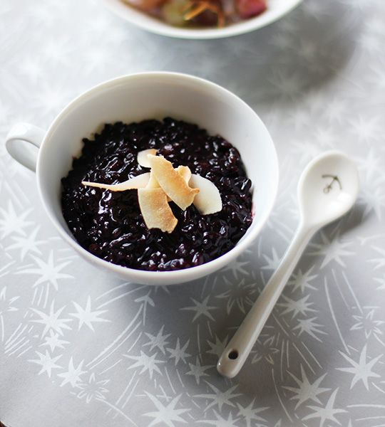 COCONUT BLACK RICE PUDDING  —  recipe from theKitchn. I'm the coconut fiend and the traditional Thai dessert kao neow dahm is my favorite way to get my fix at home. Made with sticky whole grain black rice, coconut milk and toasted coconut, this warm rice pudding is creamy, sweet, a little savory, and very coconutty. It's also dairy-free and gluten-free, making it a great dessert — or breakfast — for almost any guest.