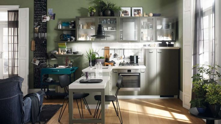 Cucina verde industrial style