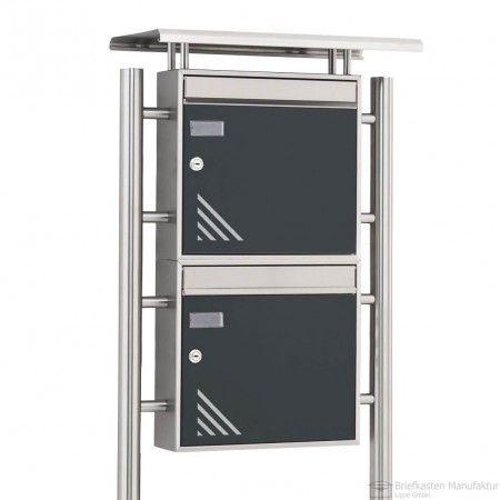 2er edelstahl design briefkastenanlage basic freistehend mit regendach bml vertigo edition. Black Bedroom Furniture Sets. Home Design Ideas