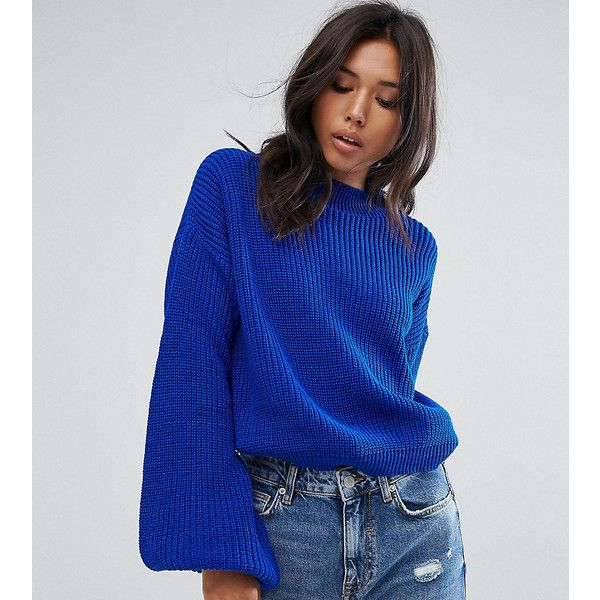PrettyLittleThing Flared Sleeve Jumper ($34) ❤ liked on Polyvore featuring tops, sweaters, blue, night out tops, party sweaters, bell sleeve sweaters, party jumpers and jumpers sweaters