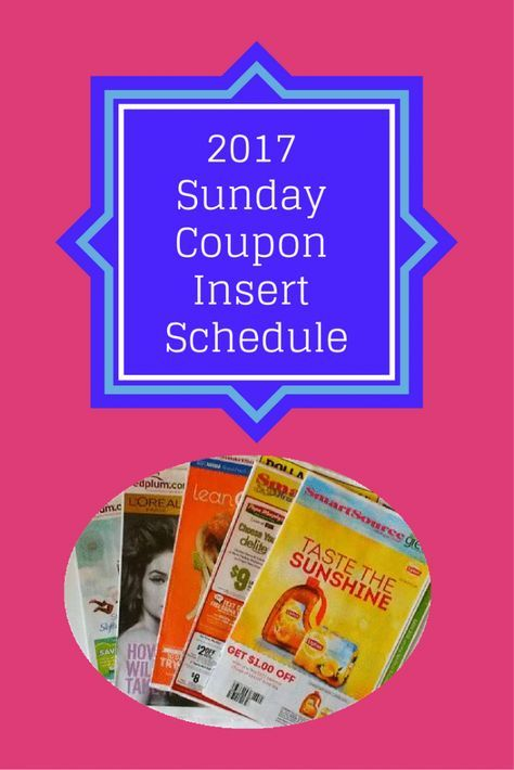 2017 Sunday Newspaper Coupon Insert Schedule