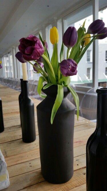 Hand crafted customized matt black vases