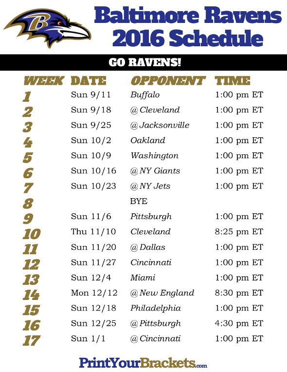 Baltimore Ravens Schedule - 2016