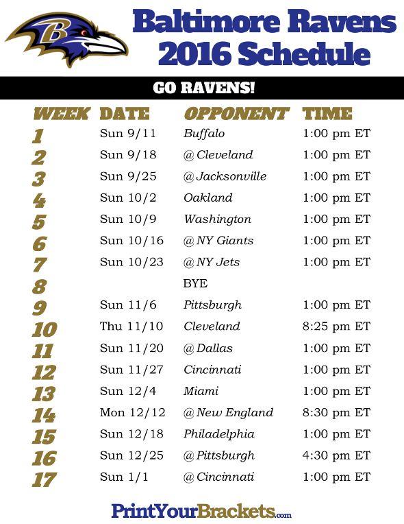 Baltimore Ravens Schedule - 2016