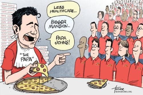 No problem giving away multi-millions of dollars worth of free pizza for promotion, but charging an extra 14 cents per pizza for employee healthcare is ridiculous, that's the Papa John's way.