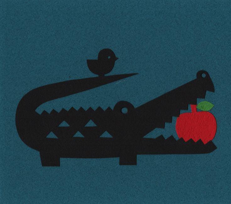 """Paper cutting art """"Alligator"""""""