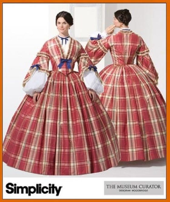 THE MUSEUM CURATOR CIVIL WAR LADY DRESS COSTUMES SEWING PATTERN 8-10-12-14 #Simplicity