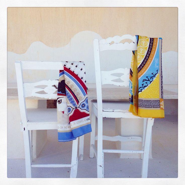 """""""Santorini"""" silk scarf vs """"Mycenaean"""" silk scarf, both by Grecian Chic!"""
