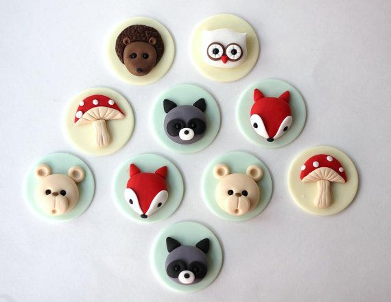 Woodlands fondant cupcake topper set. Forest by LesPopSweets