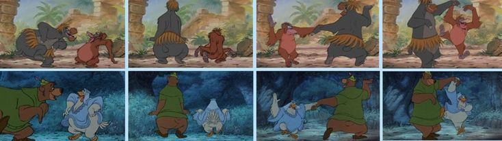Baloo, Roi Louie, Petit Jean et Gertrude