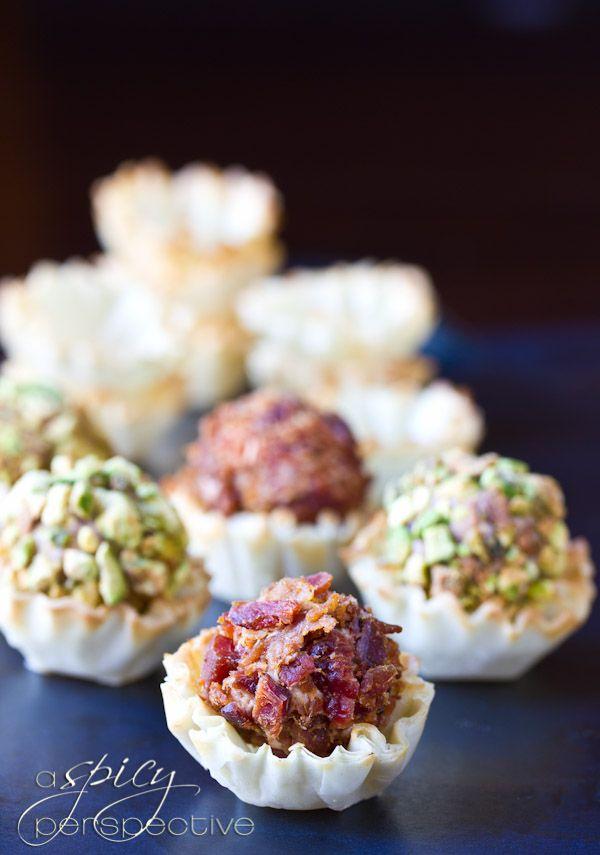 Mini Cheese Balls Recipe in FIllo Shells | ASpicyPerspective.com #recipe #partyfood #appetizers