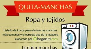 Infografía con trucos para eliminar manchas de la ropa - Hogarmania                                                                                                                                                                                 Más