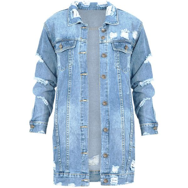 Long Denim Jacket 2.0 ($53) ❤ liked on Polyvore featuring outerwear, jackets, blue denim jacket, long denim jacket, jean jacket, blue jean jacket and blue jackets