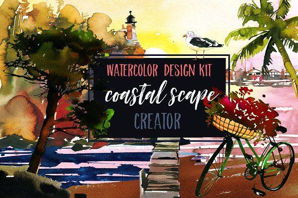 Watercolor Coastal Scape Creator by whiteheartdesign on @creativemarket