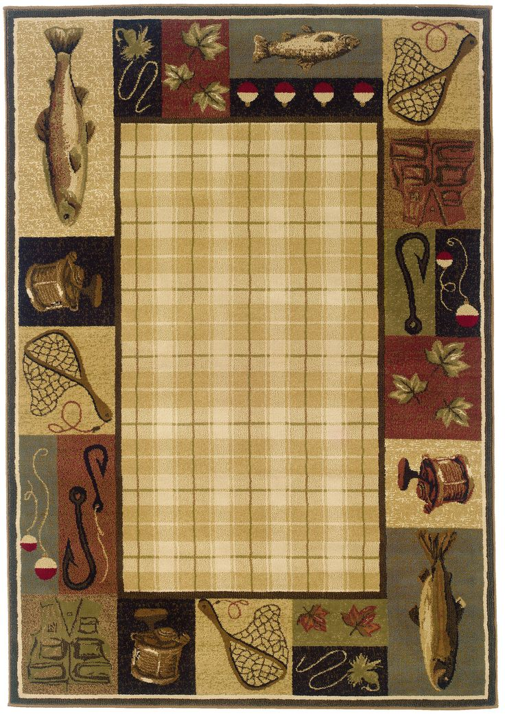 hunter checked novelty rug rustic area