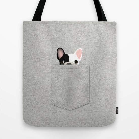 Pocket French Bulldog - Pied Tote Bag