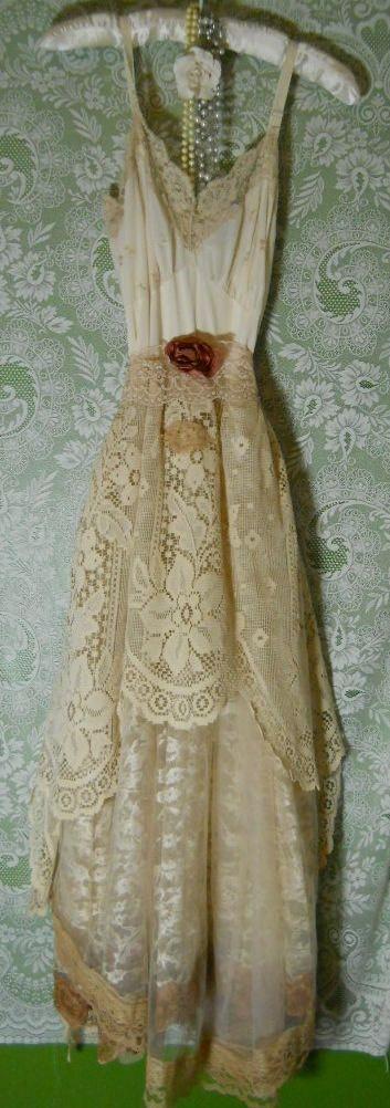 White lacedress tea stained vintage cream shabyy wedding prairie romantic medium