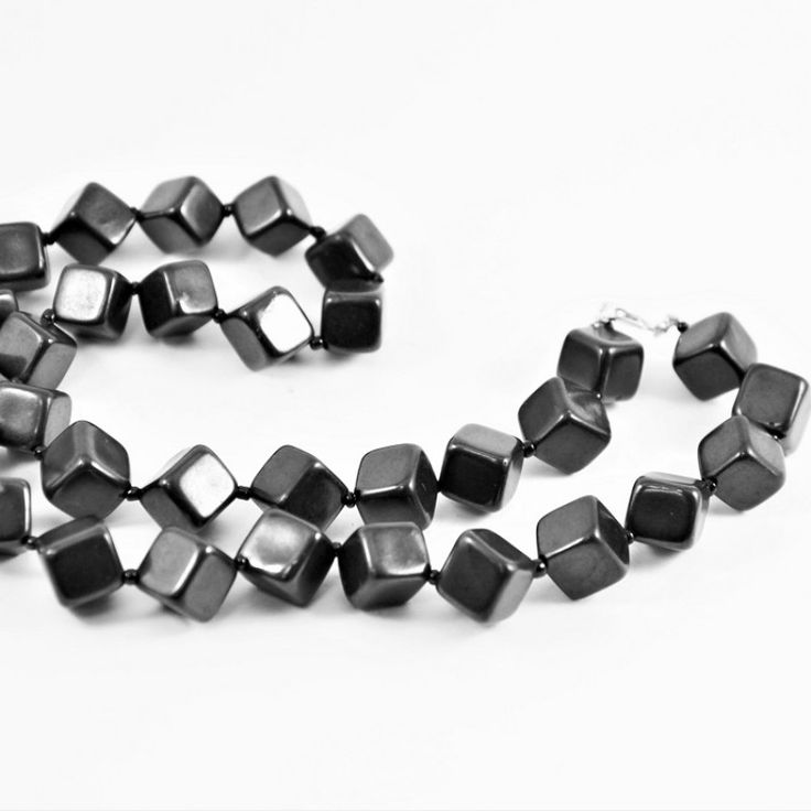 Shungite necklace rhombic beads for personal healing and protection $24.99