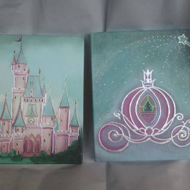 Kids Nursery Prints: Canvas Art, Princess Castle, Cinderella's carriage...