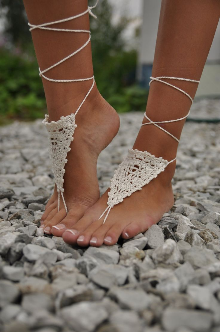 These crochet ivory barefoot sandals