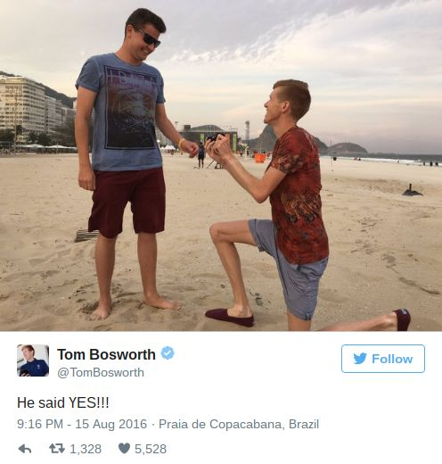 Gay marriage proposals continue in Rio as Tom Bosworth pops the question to boyfriend · PinkNews