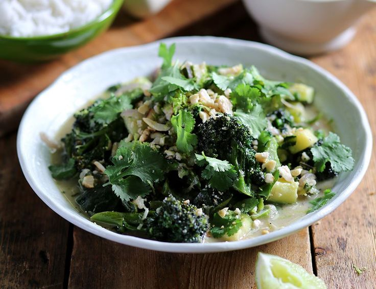 Thai Green Curry with Purple Sprouting Broccoli & Peanuts