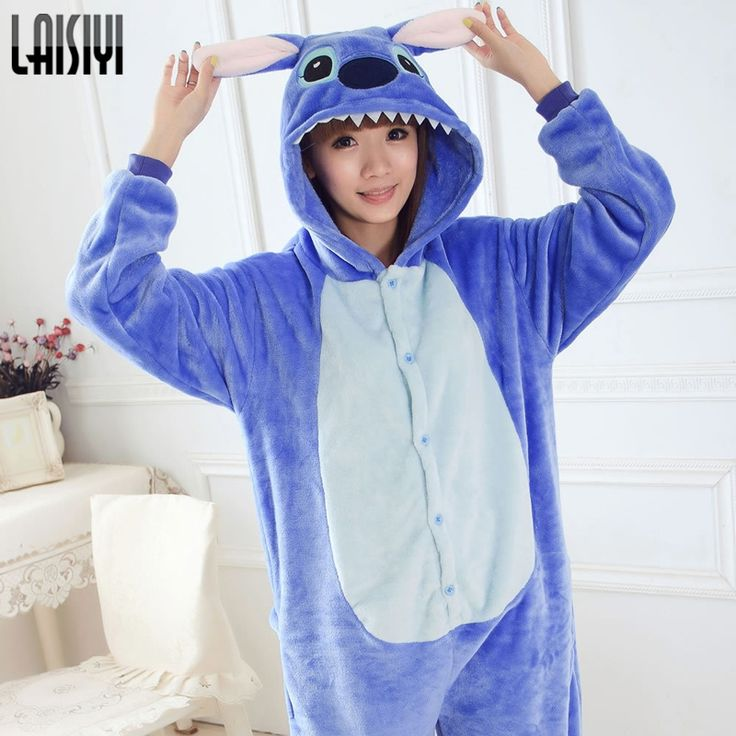 lilo and stitch onesie Unisex onesies Unisex Adult warm fleece pajamas for women pajama set warm animal pajamas one piece femme