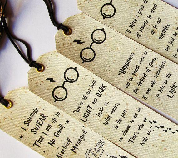 Harry Potter marque-pages, ensemble de 4 morceaux favoris, cite de Harry Potter, Harry Potter idées cadeaux, carte de maraudeurs, je jure solennellement