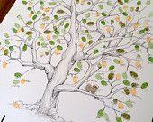 Fingerprint Tree Wedding Guest Book Alternative, Original Hand-drawn Large Elm Tree Design (ink pads sold separately)
