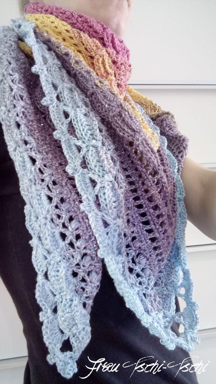 Wunderschönes, gehäkeltes Dreieckstuch - kostenlose Anleitung in 10 Sprachen *** Beautiful, crocheted triangular scarf - crochet patterns free in 10 languages